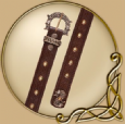 Leather belt with buckle and imprint in celtic design